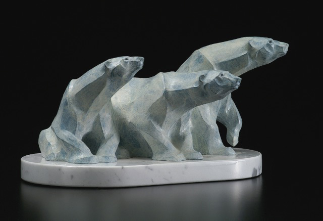 Rosetta Sculpture Ice Bears Maquette Bronze