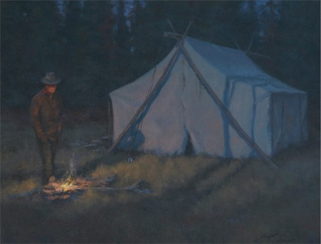 Scott Yeager Painting Night in Camp Oil on Board