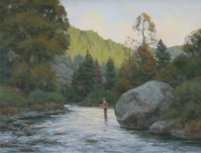 Scott Yeager Painting The Boulder Pool Oil on Canvas