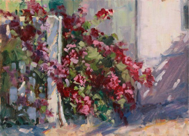 Susie Hyer  Bouganvilla Cascade Oil on Panel