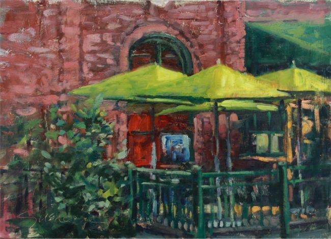 Susie Hyer  Green Patio Umbrellas Oil on Panel