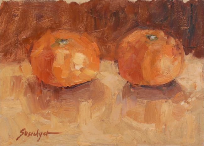 Susie Hyer  Pair of Tangellos Oil on Panel