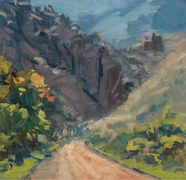 Susie Hyer  Road Thru the Canyon Oil on Panel