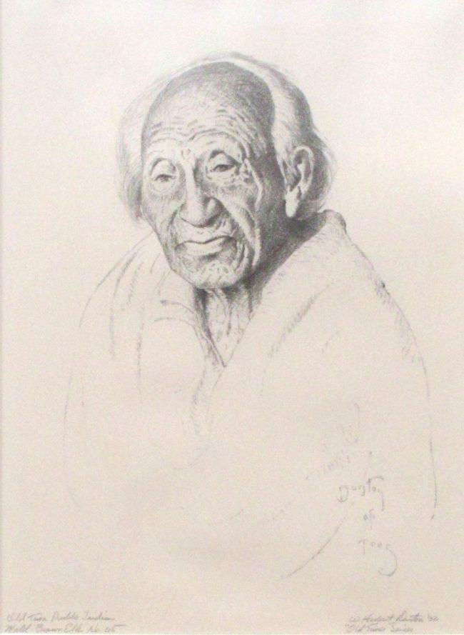 William Herbert (Buck) Dunton Printmaking Old Taos Pueblo Indian Lithograph