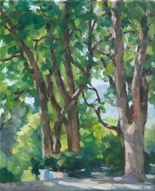 Benjamin Wu Painting In the Trees Oil on Linen