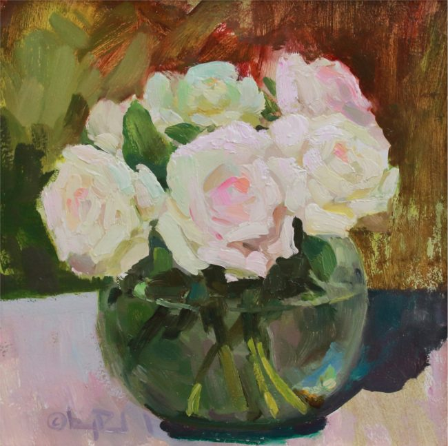 Gregory Packard Painting Roses Oil on Panel