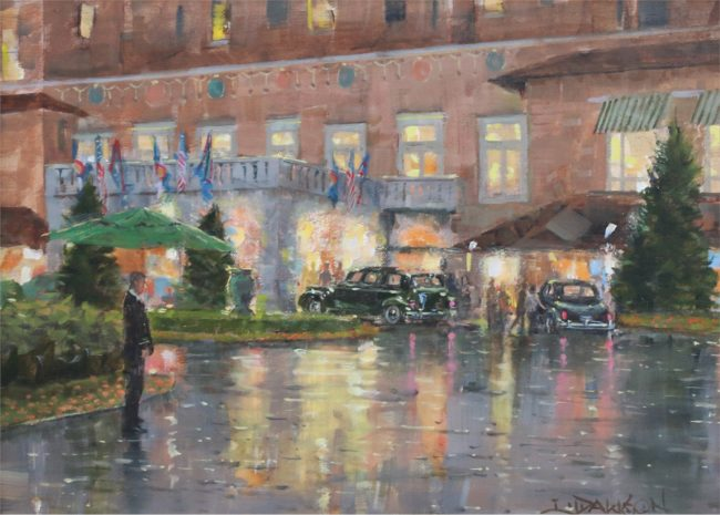 Lindsay Dawson Painting Rain in the Rockies Oil on Canvas