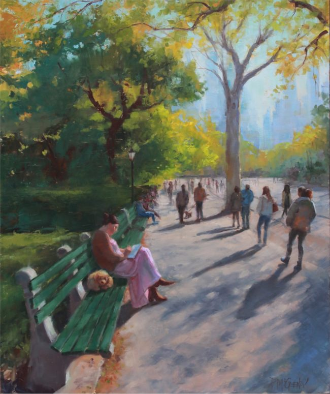 Patricia McGeeney Painting Saturday in the Park Oil on Panel