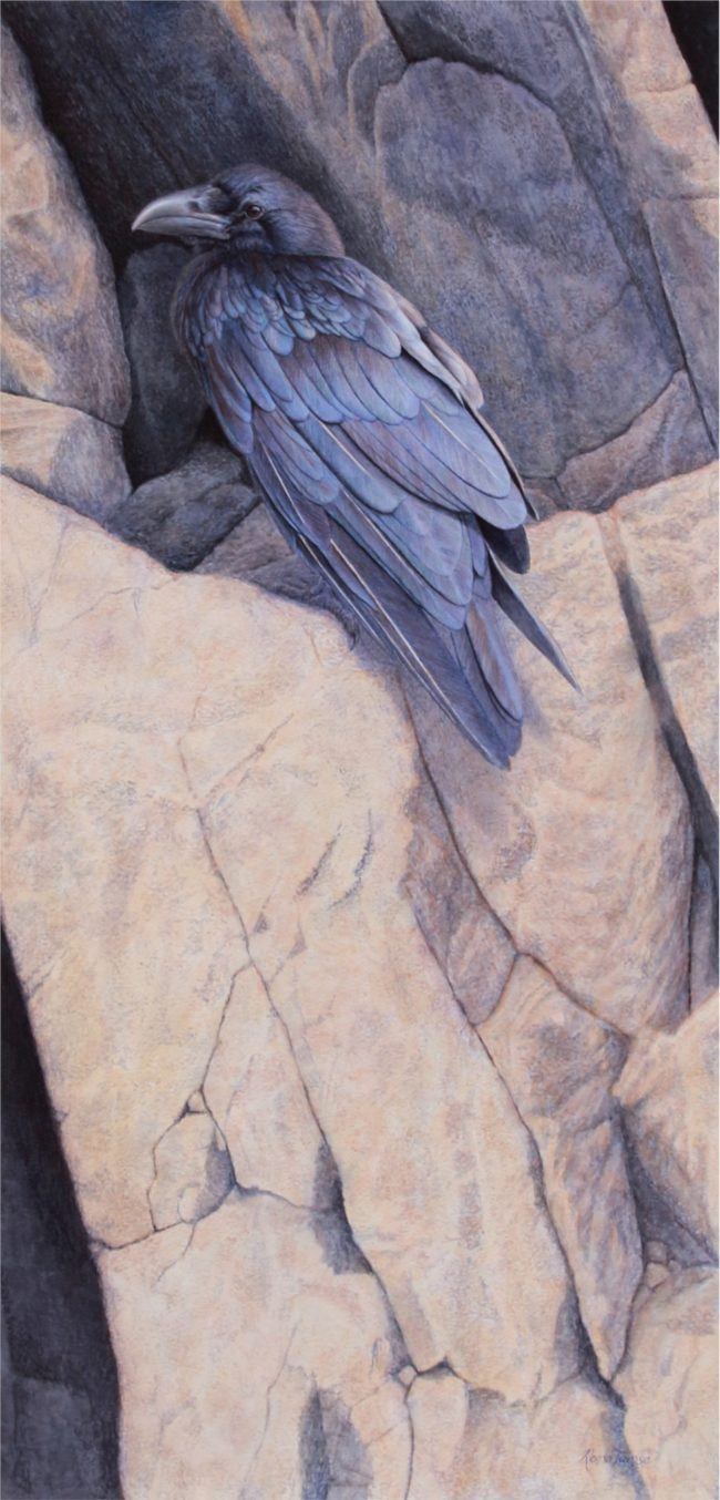 Renso Tamse Painting Raven Blue Watercolor