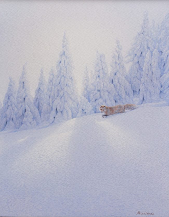 Renso Tamse Painting Snow Covered Watercolor