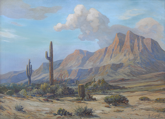 Angel Espoy Painting Superstition Mountain Oil on Canvas