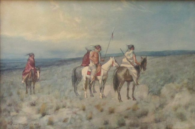 Charles Craig Painting Four Indians on Horseback Watercolor