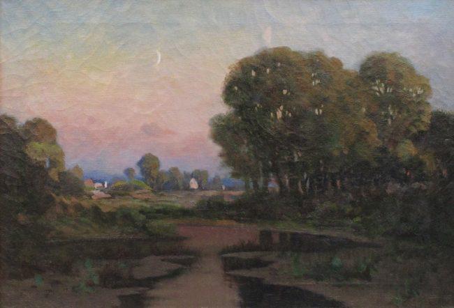 Charles Craig Painting Late Season Moon Oil on Canvas