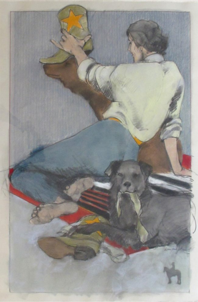 Donna Howell-Sickles Estate Mixed Media Doggies and Boots Mixed Media on Paper