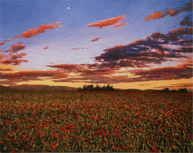 Karla Murray Painting Moonrise Over a Field of Poppies Oil on Board