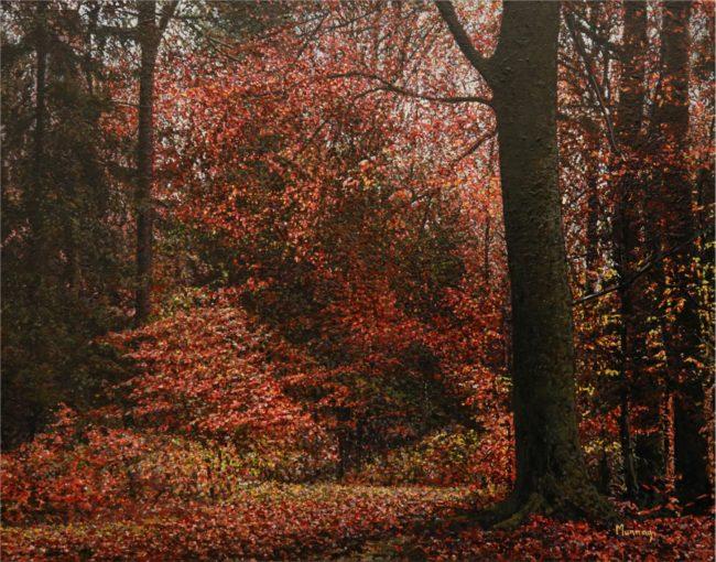 Karla Murray Painting Peaceful Autumn Oil on Board