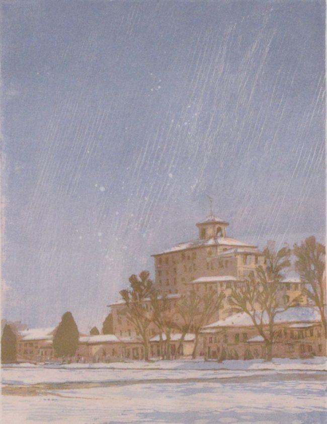 Leon Loughridge Printmaking Flurries at the Broadmoor Woodblock Print