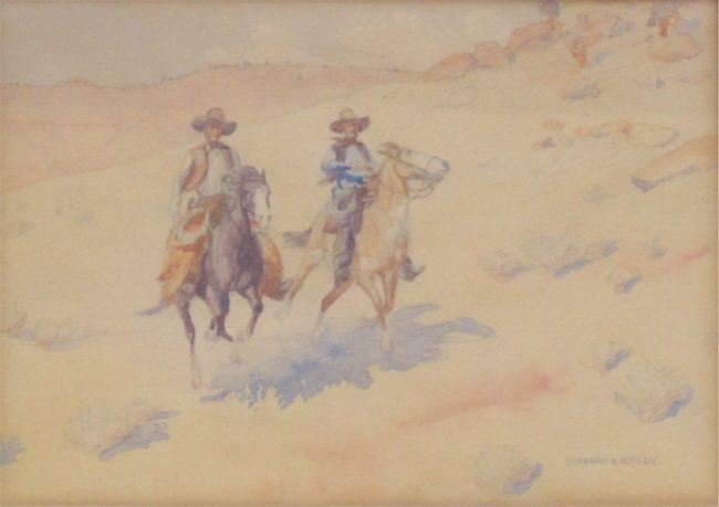 Leonard Reedy Painting Riding The Range Mixed Media on Paper