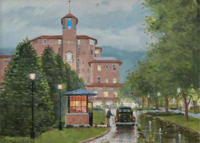 Lindsay Dawson Painting The Broadmoor by the Lamp Light Oil on Canvas