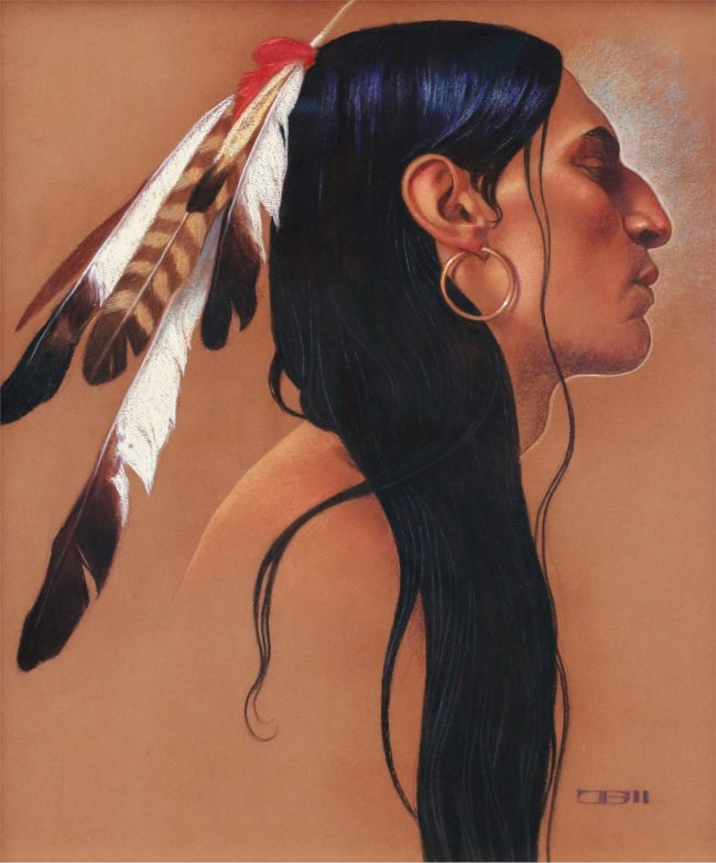 Thomas Blackshear Painting Native in Profile Pastels and Mixed Media on Paper
