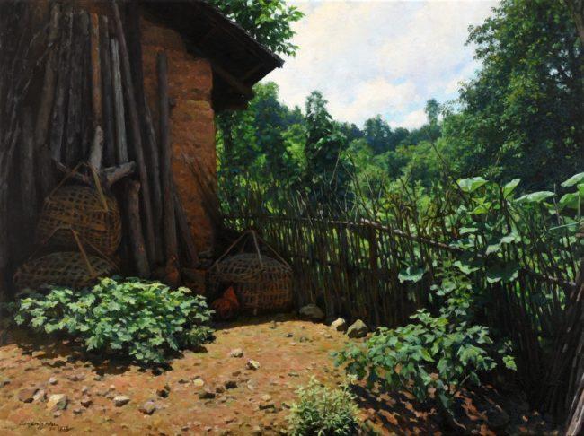Benjamin Wu Painting Mountain Village Oil on Canvas