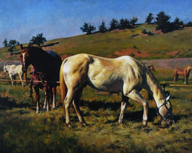 Benjamin Wu Painting The Resting Horses Oil on Canvas