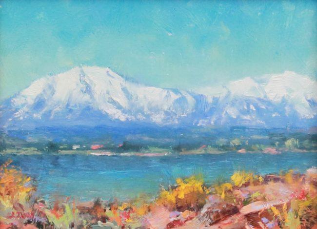 Bill Inman Painting Spanish Peaks Oil on Board