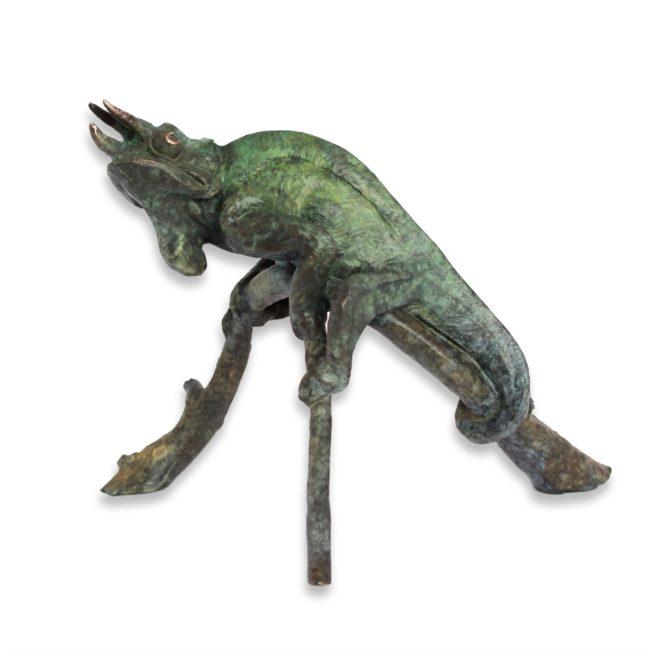 Dan Chen Sculpture Chameleon Lizard Bronze