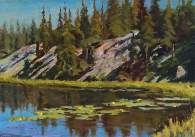 Dean St. Clair Painting Lily Pond Oil on Canvas