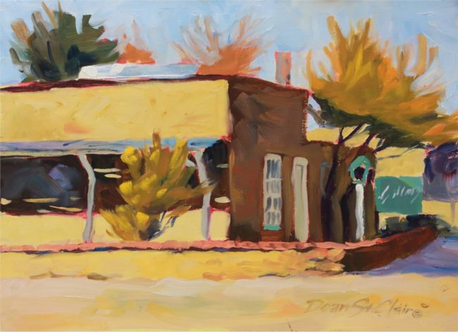 Dean St. Clair Painting Pueblo Oil on Board