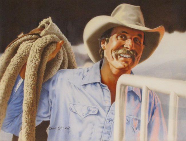 Dean St. Clair Painting Smilin' Cowboy Watercolor