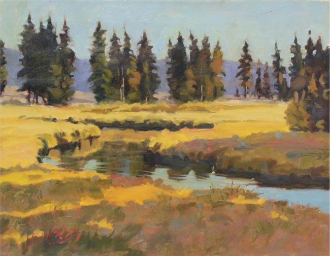 Dean St. Clair Painting Sunset on Indian Creek Oil on Canvas