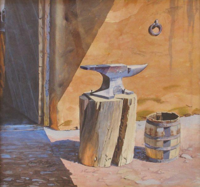 Dean St. Clair Painting The Smiths Anvil Watercolor