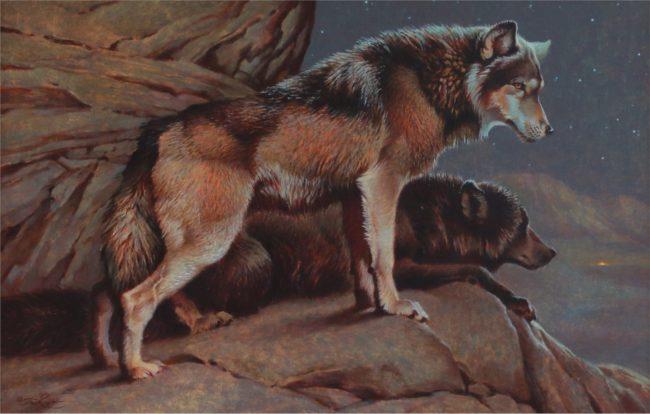 Ezra Tucker Painting Scent of Man - Wolves Acrylic on Panel