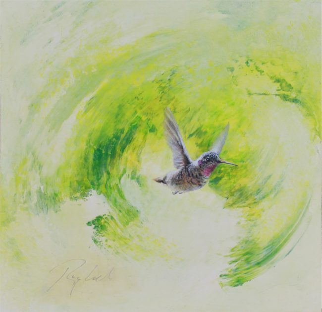 Greg Ragland Painting Green Swirl with Female Hummingbird Acrylic on Panel