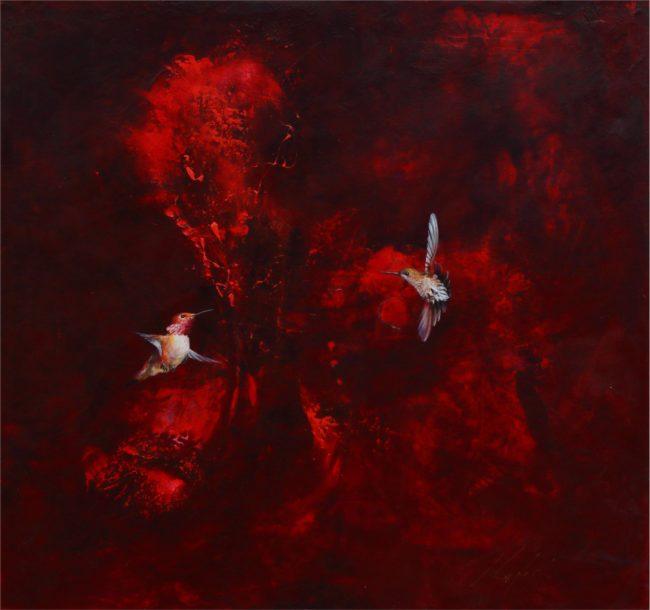 Greg Ragland Painting Rufous in Maroon Acrylic on Canvas