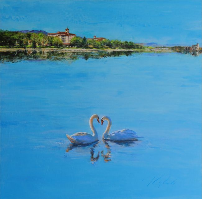 Greg Ragland Painting Two Broadmoor Swans Acrylic on Canvas