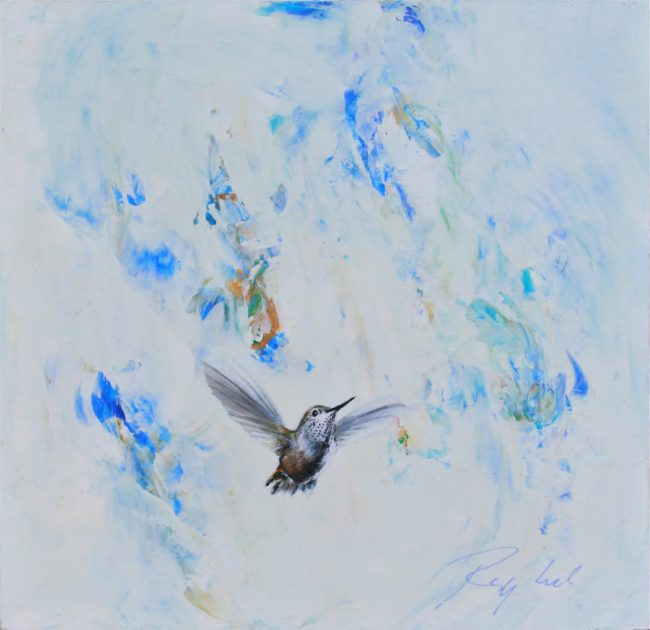 Greg Ragland Painting White and Blue with Female Hummingbird Acrylic on Panel
