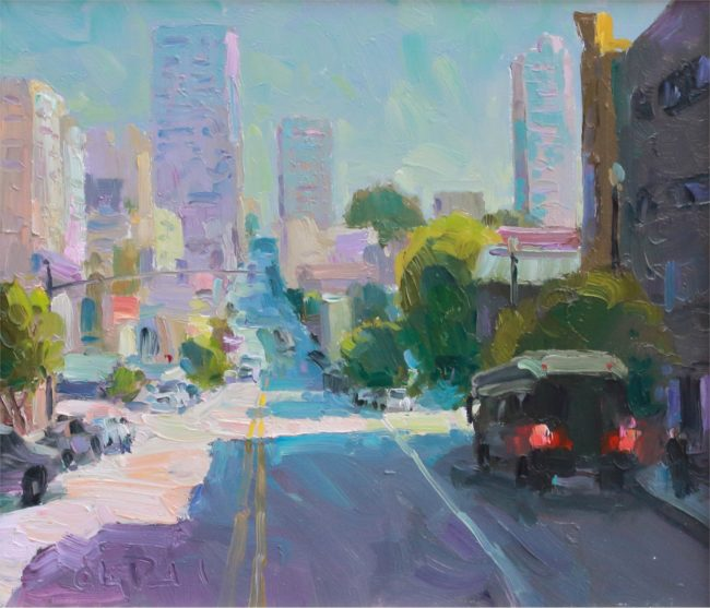 Gregory Packard Painting City Sunshine Oil on Panel