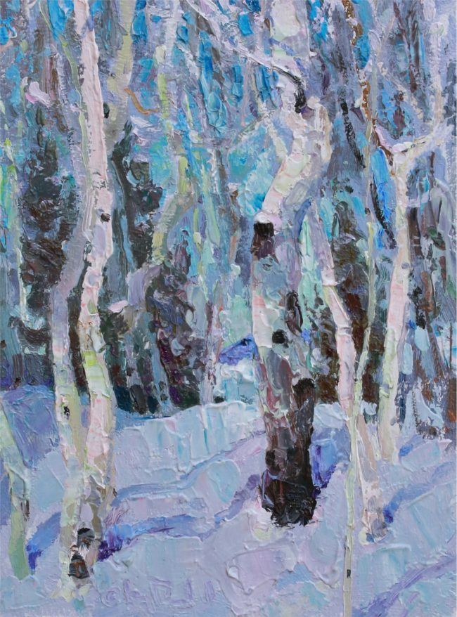 Gregory Packard Painting Sparkling New Snow Oil on Panel