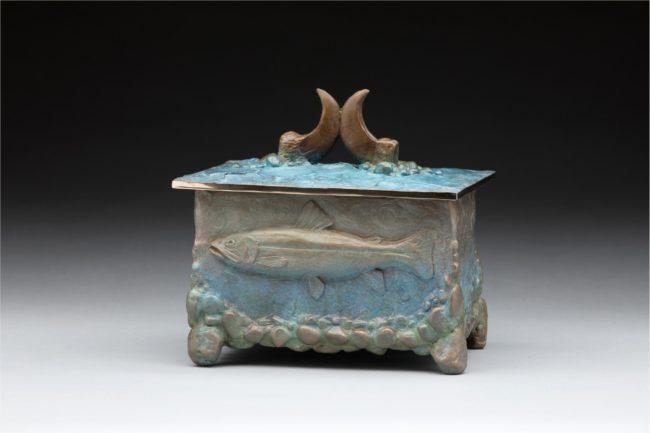 James Moore Sculpture Bear Claw Urn Bronze
