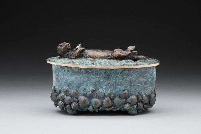 James Moore Sculpture Otter Urn Bronze