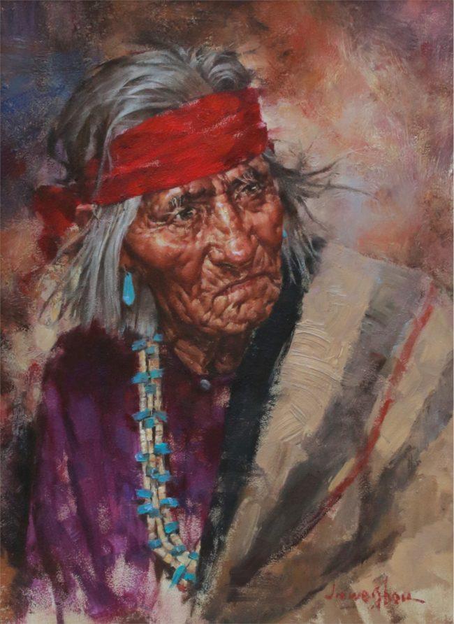 Jie Wei Zhou Painting Navajo Elder Oil on Board