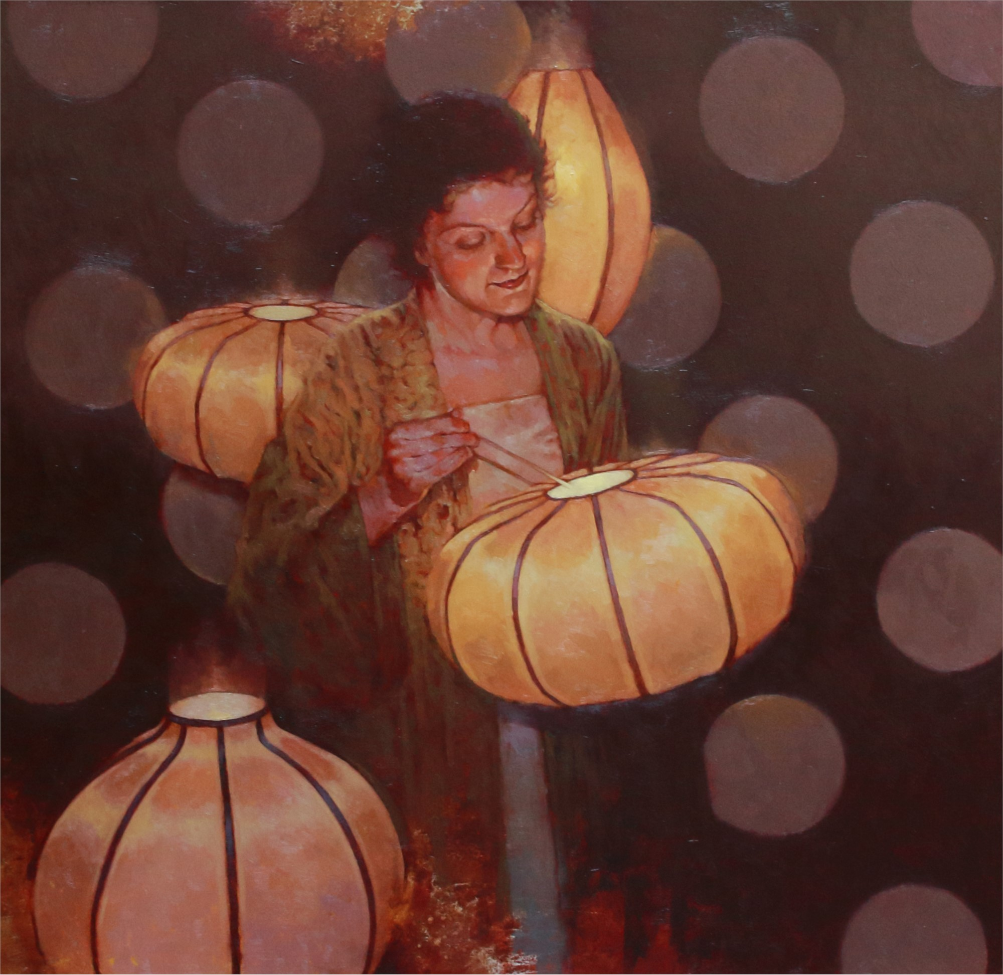 Joseph Lorusso Painting Japanese Lanterns Oil On Panel