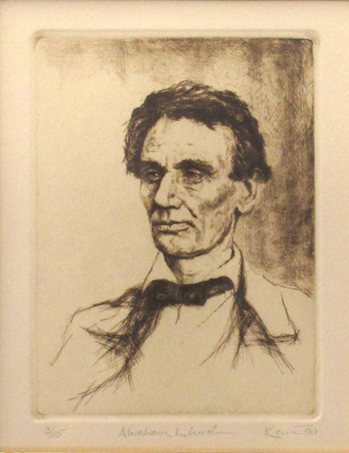 Kent Talmage-Bowers Printmaking Abraham Lincoln Etching
