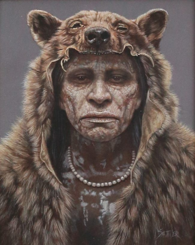 Kirby Sattler Painting Ghost Bear Acrylic on Panel
