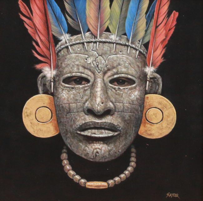 Kirby Sattler Painting Rostro de Teotihuacan Acrylic on Panel