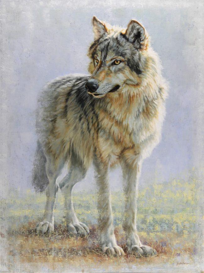 Krystii Melaine Painting Omahkapi'si - Timber Wolf (Blackfoot) Oil on Belgian Linen