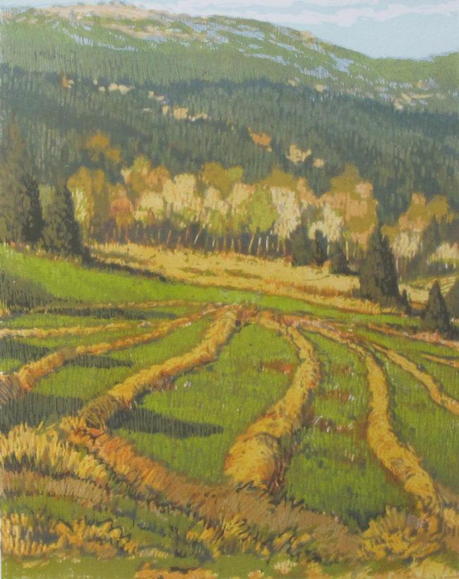 Leon Loughridge Printmaking Hayfields Woodblock