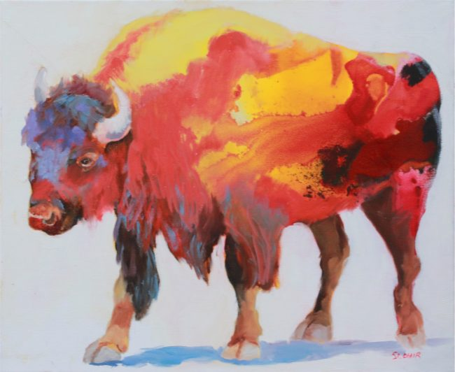 Linda St. Clair Painting Fire Bison Oil on Canvas